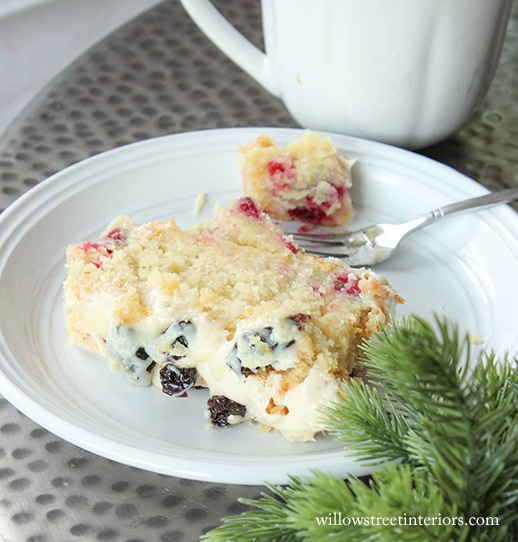 cranberry cake and evergreen