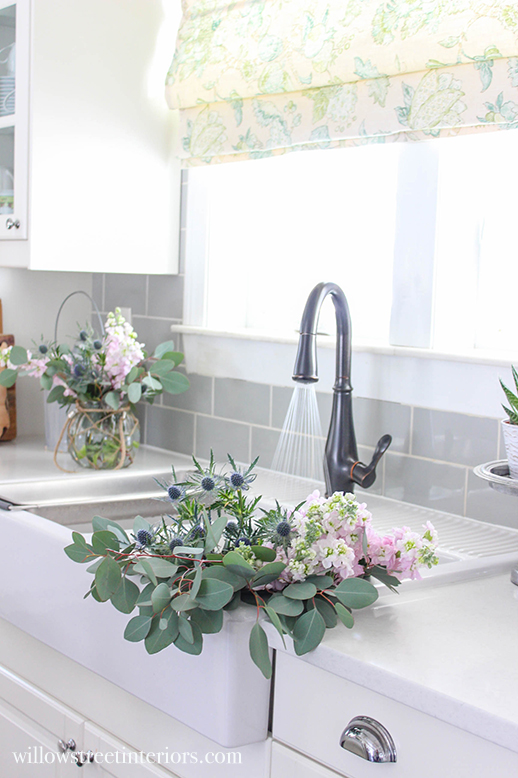 spring flowers in sink