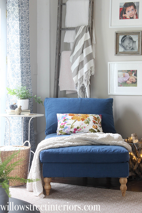 ikea chaise with navy slipcover | willow street interiors