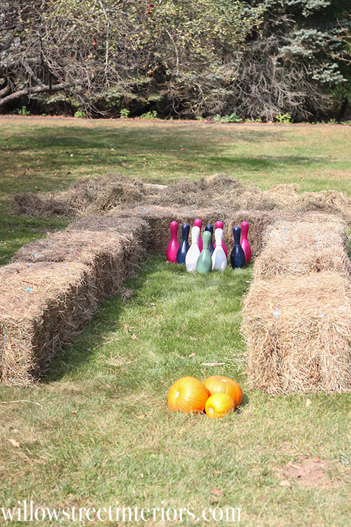 pumpkin bowling, a cute fall birthday game